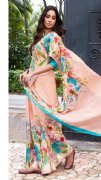 Chic Peach Floral Saree